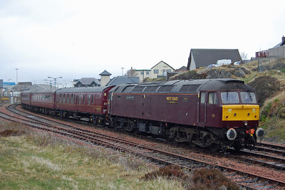 Having run round its train, 47786 pushes the stock back into the platform at Mallaig before returning to Fort William with 1Z56 (04/05/2013)