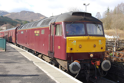 47786 waits time at Crianlarich with 1Z55. Unfortunately the sunshine had given way to torrential rain by the time we reached Fort William (04/05/2013)