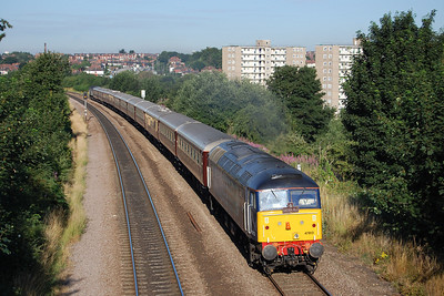 47813 'Solent' climbs through the eastern suburbs of Leeds at Killingbeck with 1Z56 0624 'Northern Belle' charter from Sheffield to Edinburgh. I'm kicking myself for getting my angles wrong on what was a beautiful sunny morning (26/07/2013)