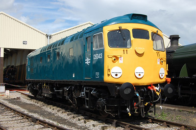 The other star attraction of the gala was 26043, which like the '45' had worked its first passenger trains in preservation the previous Friday after arriving at the line back in 1994. Unfortunately after suffering a double traction motor failure, the type 2 didn't feature in the final day's trains and is pictured here outside the new diesel shed at Toddington (28/07/2013)