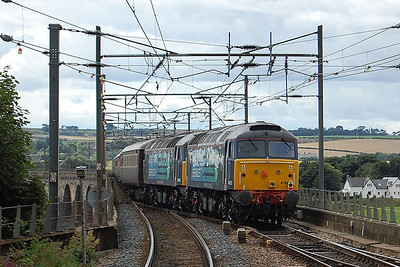 47813 departs from Berwick on the rear of 5Z75 1303 empty stock to Tweedmouth after arriving with a Northern Belle charter from East Midlands Parkway. 'Inside' is 47853, which had failed on the previous day's train (10/08/2013)