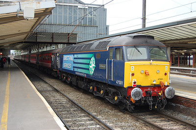 1Z90 reversed at Preston, and 47501 'Craftsman' is seen here prior to departing north along the WCML (31/07/2013)