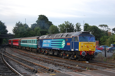 47805 'John Scott' draws into Hereford station from the former HSR sidings with the empty stock for Compass Tours' 1Z89 0719 charter to Blackpool North (27/07/2013)