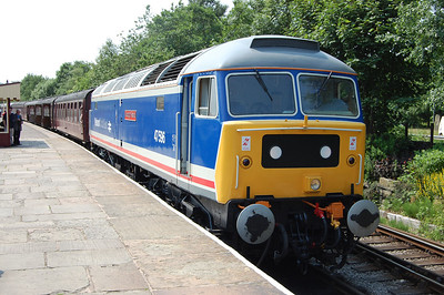 Making its first appearance at the ELR's northern terminus, 47596 is pictured on arrival at Rawtenstall with 2J77 1305 ex-Heywood (05/07/2013)