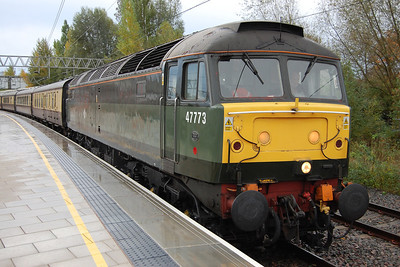 47773 waits time at Stafford with Vintage Trains' 1Z45 0717 charter from Tyseley (Warwick Road) to Carlisle (09/11/2013)