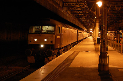47760 waits to be overtaken  by a ScotRail service at Perth with Compass Tours' 1Z33 1605 Kyle of Localsh to Gourock return charter (04/10/2013)