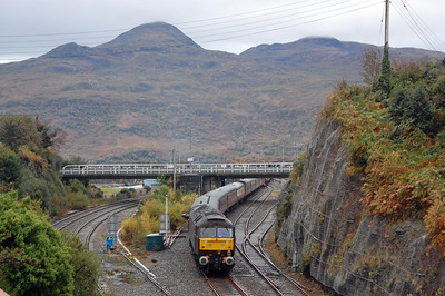 With the Isle of Skye in the background, 47786 'Roy Castle OBE' awaits departure from Kyle with the return 1Z51 1604 to Inverness (19/10/2013)