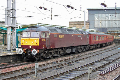 The long journey back south the next day was interrupted only by a water-stop/leg-stretch at Carlisle. 47786 is seen here in charge of 1Z38  1004 Inverness - Hereford, which it led as far as Preston where the train reversed after a run over the 'S&C' (20/10/2013)