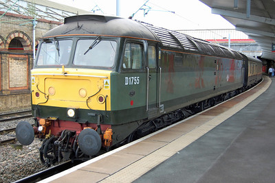 The relaxed timings allowed a further photographic opportunity at Crewe, where 47773 is pictured again at the head of 1Z45. Remarkably, this was only the fourth time I've travelled behind this particular loco since its withdrawal by EWS in 2003 (09/11/2013)