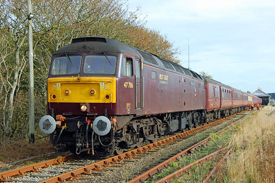47786 'Roy Castle OBE' was on the other end of the train and is seen here waiting to take 1Z47 on the final leg of its journey from Wick to Thurso (19/10/2013)