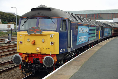 The outward leg of the tour hadn't been without its problems (828 would only go in one direction, and 818 wouldn't go at all) and had arrived in Holyhead over an hour late. Consequently 'Peter Bath' and 'Craftsman' were despatched light from Crewe to work the return (07/10/2013)