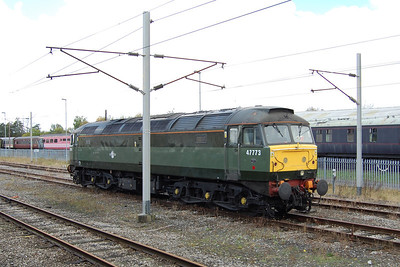 47773 was removed from the train at Carnforth Up & Down Goods Loop. The loco is pictured from the departing 1Z45, which by now was being hauled by steam loco 'Galatea'. The 'Brush' later ran light to Hellifield to pick up the return leg of the tour and take it back to the West Midlands (09/11/2013)