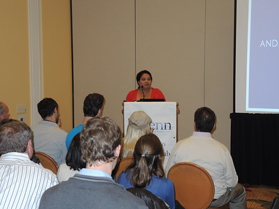 Penn Club of San Diego president B. Bea Rajsombath welcomes everyone and introduces the speakers.