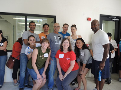 We're missing a few of our Penn volunteers here, but we're all smiles after moving lots of desks!