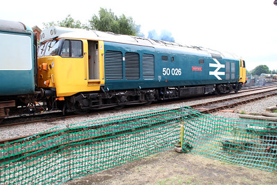 50026 'Indomitable' waiting to take a service train to Wymondham at Dereham Sidings MNR.