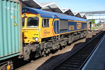 66738 1646/4L20 Hams Hall-Parkeston Quay passing March 25/05/13.