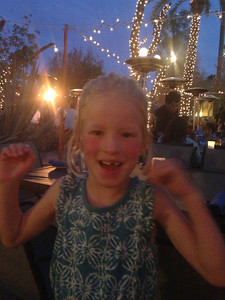 Dinner out with Mark and Diane, Amelia in love with the bedazzled palm trees