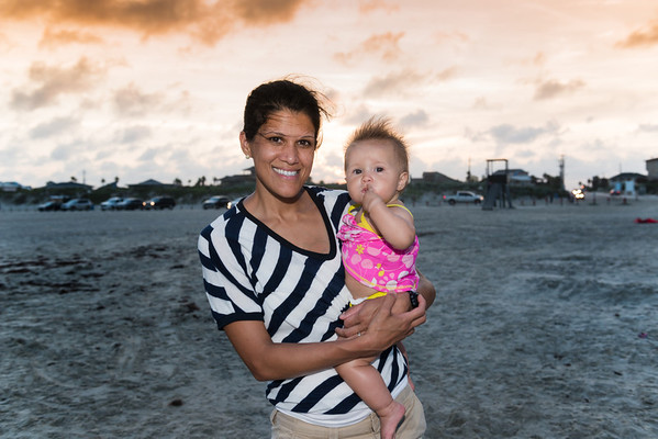 Cerie's first time to see the ocean, Port Aransas, Texas 2013.