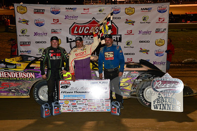 Billy Moyer in Victory Lane with Jimmy Owens and Dennis Erb, Jr.