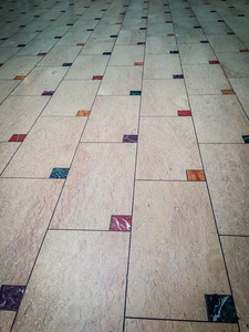 The floor. Limestone cut to look like stamped envelopes.