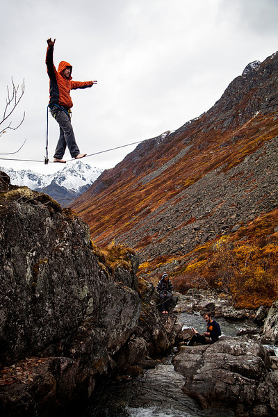 Matt walks out over the gap on the Reed Creek Highline.