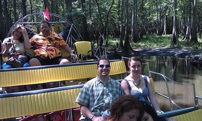 Craig and Ellen in an airboat