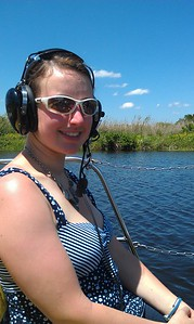 Ellen in an airboat