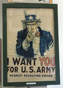 An original J. M. Flagg poster from 1917, at the Valiant Air Command Warbird Museum