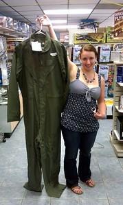 Ellen compares flight suit sizes at the Valiant Air Command Warbird Museum