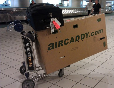 Craig's bike, checked as luggage using the AirCaddy
