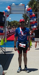 Craig poses by the finish line