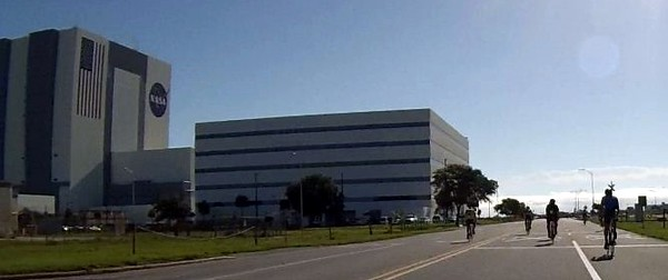 View of the Vehicle Assembly Building from the bike course, via Craig's bike-mounted  GoPro camera
