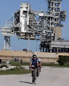 Craig passes Launch Pad LC-39A on the bike course. (Courtesy Christina Stuart Photography)