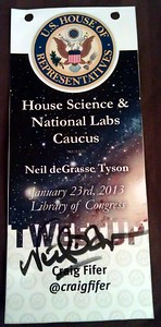 Tweetup credential, signed by Neil deGrasse Tyson (@neiltyson)