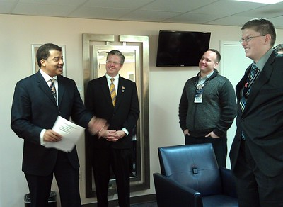 Neil deGrasse Tyson (@neiltyson) greets the tweeps in the green room, including Rep. Randy Hultgren (@RepHultgren), @RhettRothberg, and @josephgruber