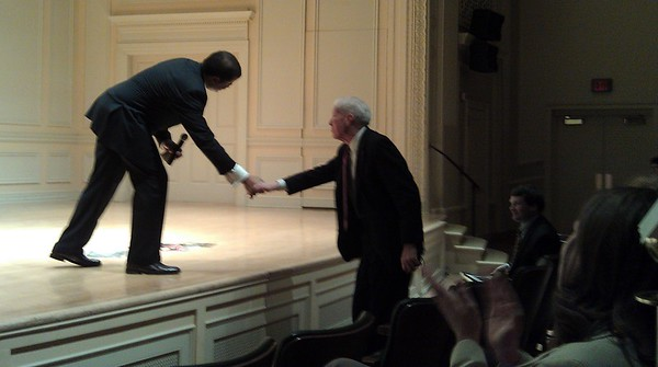 Neil deGrasse Tyson (@neiltyson) shakes hands with Dr. James H. Billington, Librarian of Congress since 1987