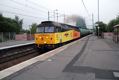 47739 0456/6s96 Derby Sinfin-Grangemouth tanks passes Coatbridge on time, after an early start to capture it 21/06/13.