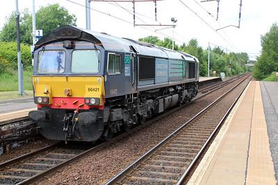 66421 1340 Light Engine move Carlisle-Coatbridge FLT passes Holytown 20/06/13.