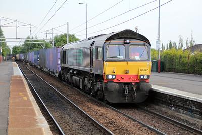 66427 1957/4s44 Daventry-Coatbridge FLT passes Coatbridge 20/06/13.