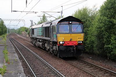 66427 2034 Light Engine ex Coatbridge FLT passes Coatbridge 20/06/13.