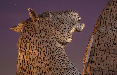 Sculptures at night