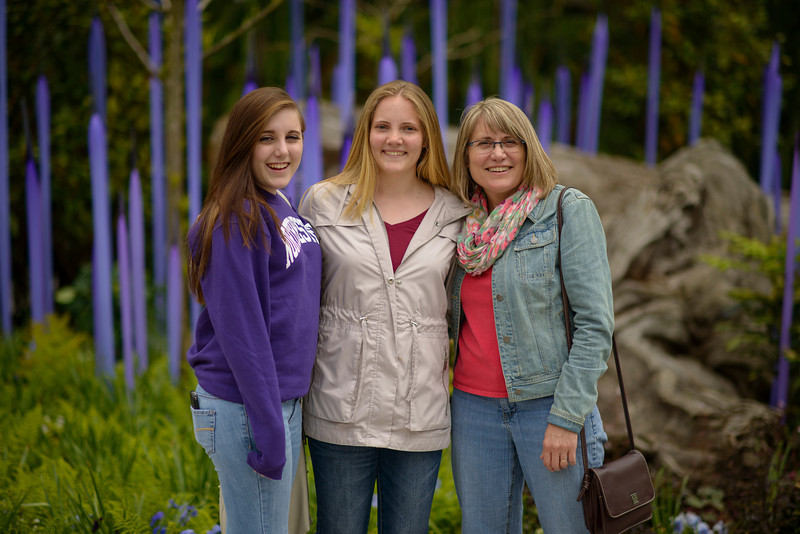Elena, Emily and Shelly and the Chihuly Garden and Glass park in Seattle Center.