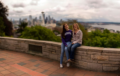 Elena and Emily at Kelly Park, overlooking Seattle and Puget Sound