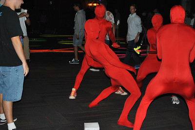 4 men in full body red suits showed up to laser tag and glow golf to add to the excitement.
