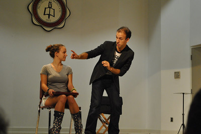 Students participate in Peter Boie's magic show.
