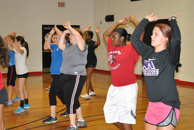 students participating in the Zumba fitness class.