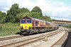 7 September 2013 ::  Pictured between Newport and Cardiff is 0Z12, the Class 66 locomotive move from Margam to Eastleigh with 66120, 66112, 66001, 66148 & 66053
