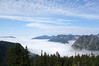 By the time we were skirting the Kendall Ridge, 5 miles into the hike, we were above the clouds. The gap in the hills to the left of center is Snoqualmie Pass. But note the high cirrus clouds above. That means a change in the weather is coming.