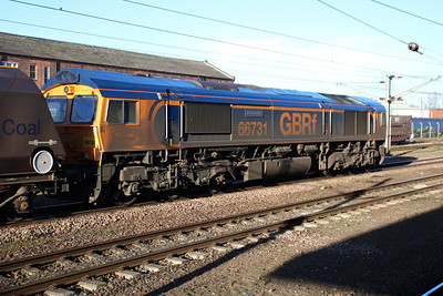 66731 1120/4R09 Doncaster-Immingham passes through Doncaster Station.