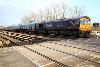 66727 1258/6H30 Tyne Dock-Drax passes Hillam Gates crossing with new Biomass hoppers 83700698040-053.